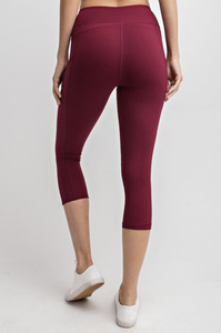 Yoga-na Love These Capri Leggings in Burgundy