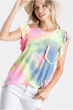 Load image into Gallery viewer, Flutter By Tie Dye Ruffled Top