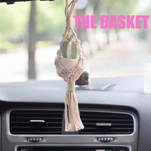 Mini Succulent in a Macrame Holder Car Freshie