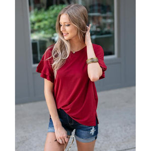 Summer Ruffle Sleeve Top