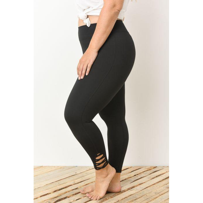 Lattice Strap Full Leggings, Curvy