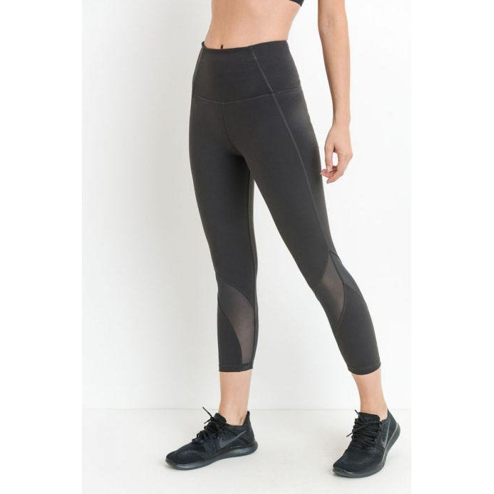 Highwaist Wave Mesh Capri Leggings
