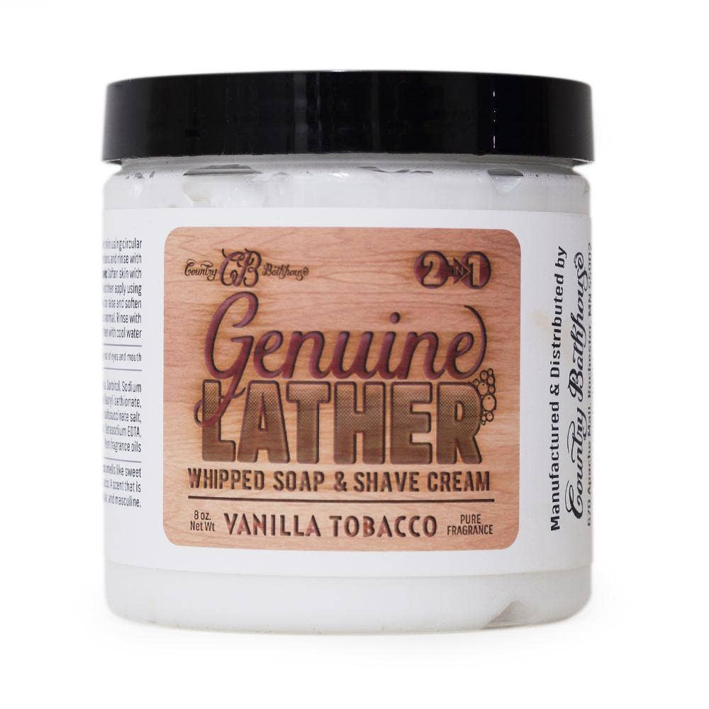 Country Bathhouse Wholesale - Genuine Lather Whipped Soap and Shave Cream - Vanilla Tobacc