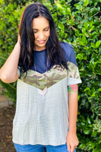 Load image into Gallery viewer, Land That I Love Chevron Color Block Tee