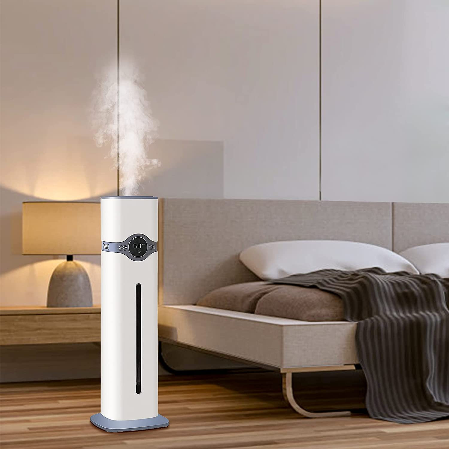 Ultrasonic Humidifiers for Home, Large Room, Top Fill Humidifiers with Humidistat, Quiet Cool Mist Humidifiers of Large Capacity(9L/2.4Gal) for 36H Humidifying, 300ML/H Max Mist Output