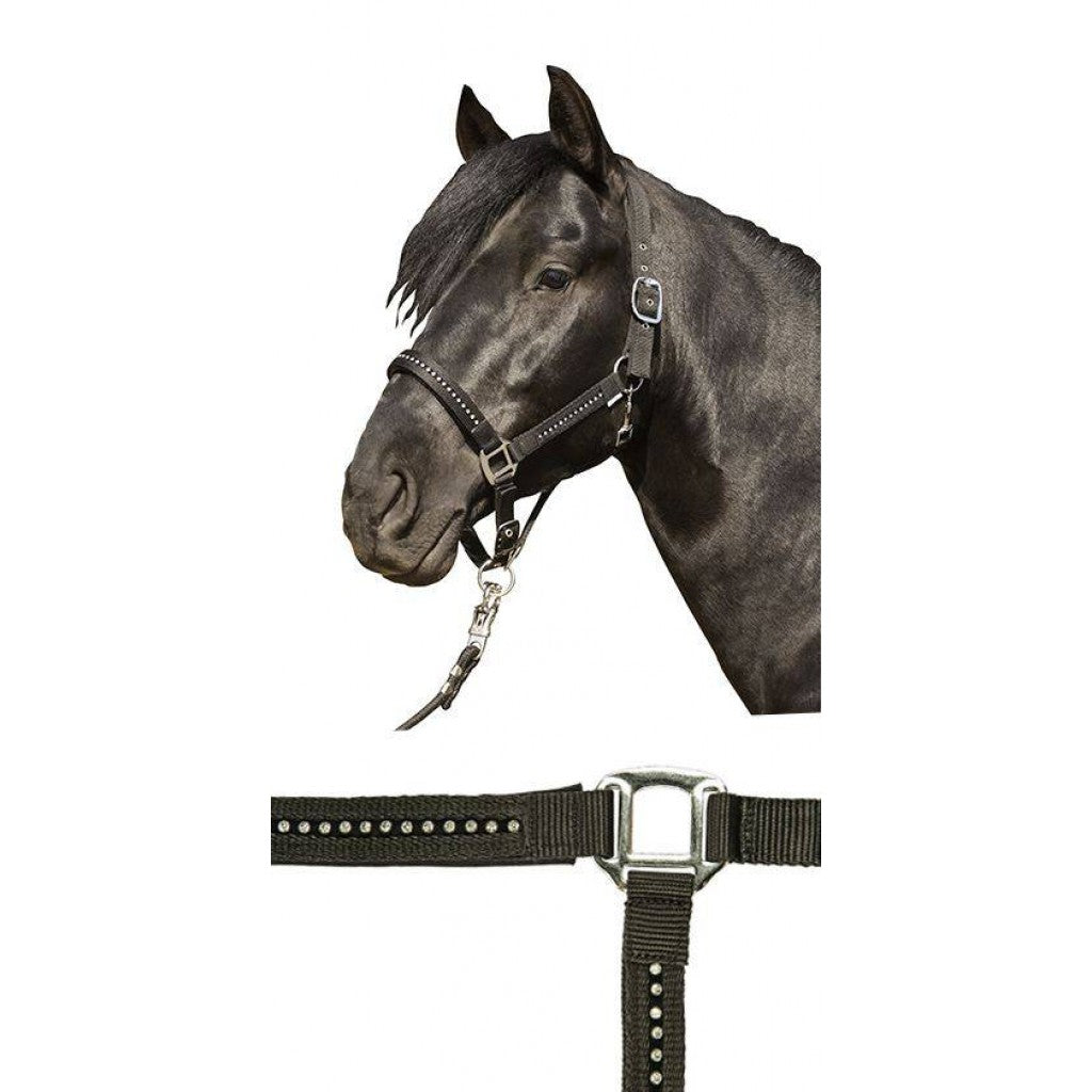 HKM Head collar (halter) -Crystal Fashion- with soft padding