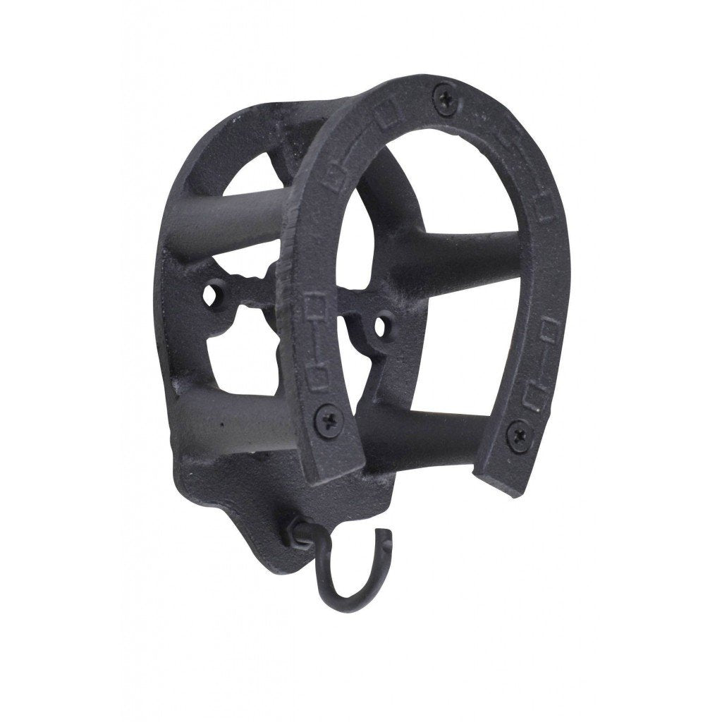 HKM Cast Iron Bridle Hook - Horse shoe