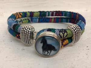 AWST Snap Bracelet, Blk Galloping Horse w/Blue Background, multicolor