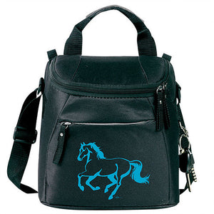 Equi-Ternatives Lunch Cooler Black & Turquoise Linear horse - Large