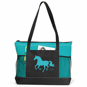"AWST Equi-ternatives Tote Bag, Turquoise with""Lila"" Galloping Horse"