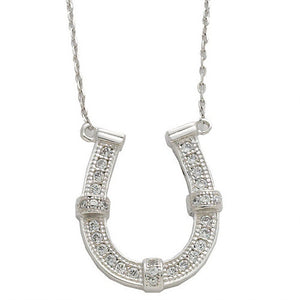 AWST Rhodium & CZ Horse Shoe Necklace