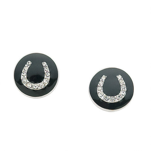 AWST Equi-Ternatives, Black enamel w/ CZ Horseshoe Post Earrings