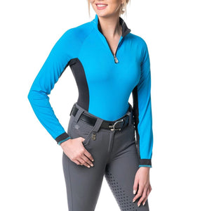 Kastel Sun Shirt Long Sleeve 1/4 Zip Ibiza Blue with Black Accent
