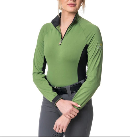 Kastel Sun Shirt Long Sleeve 1/4 Zip Willow Green with Black Accent