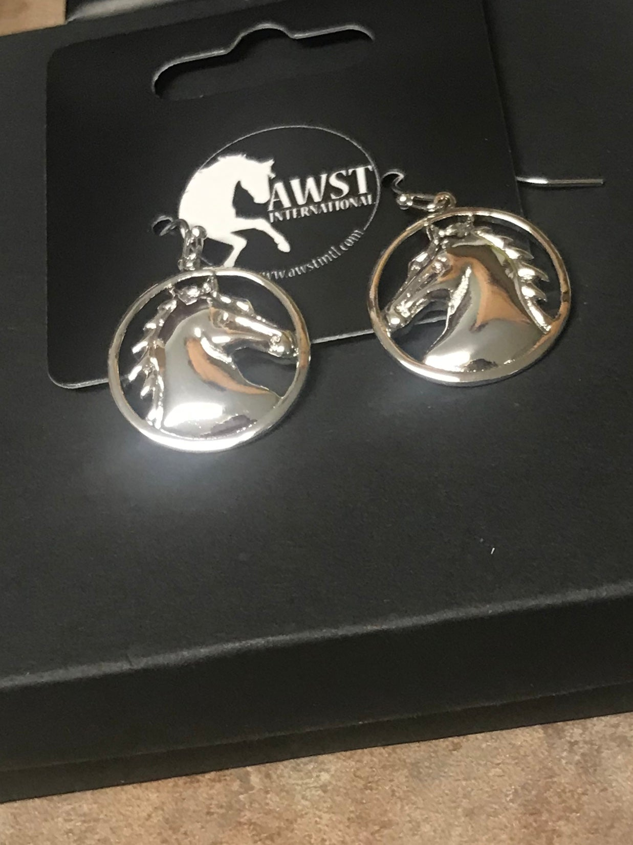 AWST Equi-ternatives Earrings, Round Horse Head Rhodium