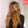4x4 Lace Frontal Blonde Ombre Long Remy Human Hair Wig with Pre-Plucked Hairline 1B/27, Body Wave