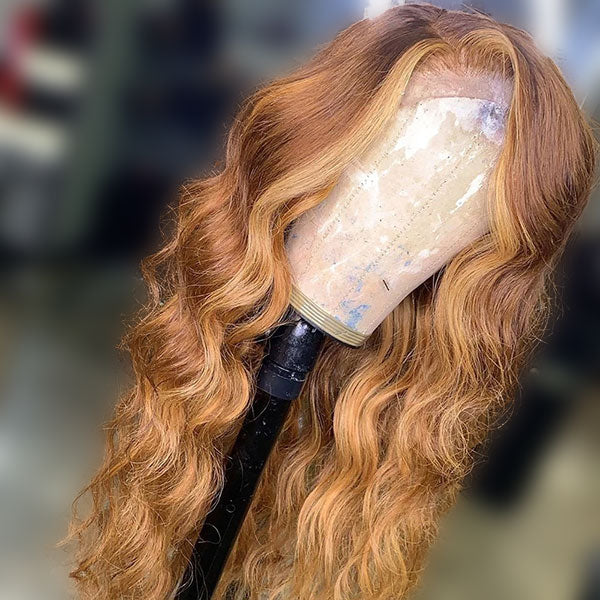 Brown and Honey Blonde Ombre Wigs, Body Wave Remy Human Hair Wigs Pre-Plucked