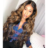 13x6 Lace Frontal Highlight Honey Blonde Body Wave Pre-plucked Remy Human Hair Wigs