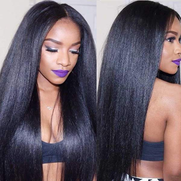 13x6 Lace Front Pre-Plucked Yaki Straight Wigs for black women