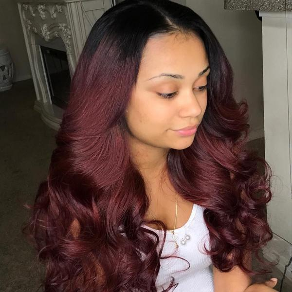 4x4 Lace Front Burgundy Long Remy Human Hair Wigs with Pre-plucked Hairline 1B/99J, Body Wave
