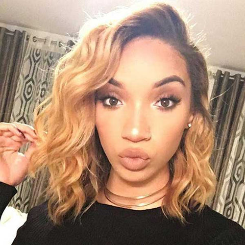 Lace Frontal Blonde Ombre Pre-plucked Remy Human Hair Bob Wigs 1B/27, Body Wave