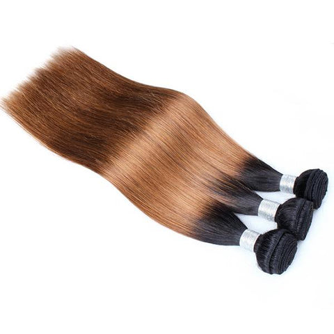 Straight 1B/30 hair Extension Remy Human Hair Bundles /3 Pieces