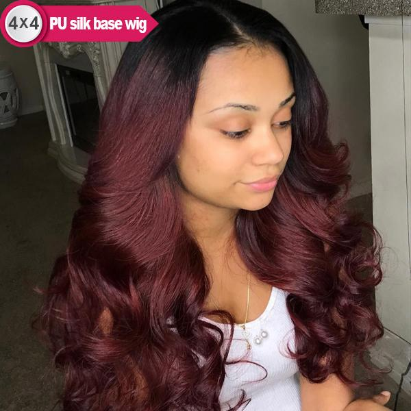 4x4 PU Silk Base Burgundy Long Remy Human Hair Wigs with Pre-plucked Hairline 1B/99J, Body Wave