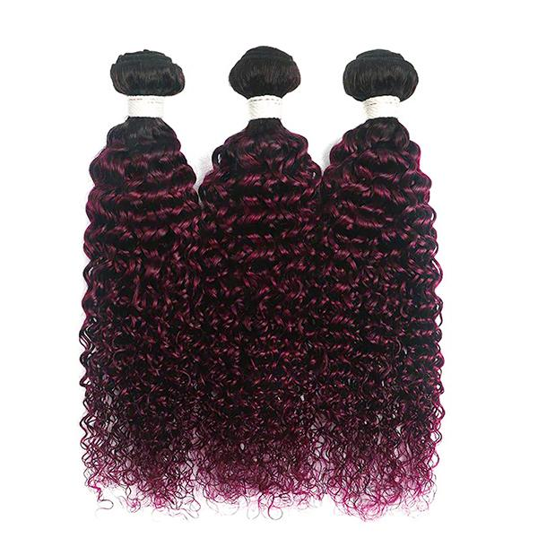 Curly 1B/99J hair Extension Remy Human Hair Bundles /3 Pieces