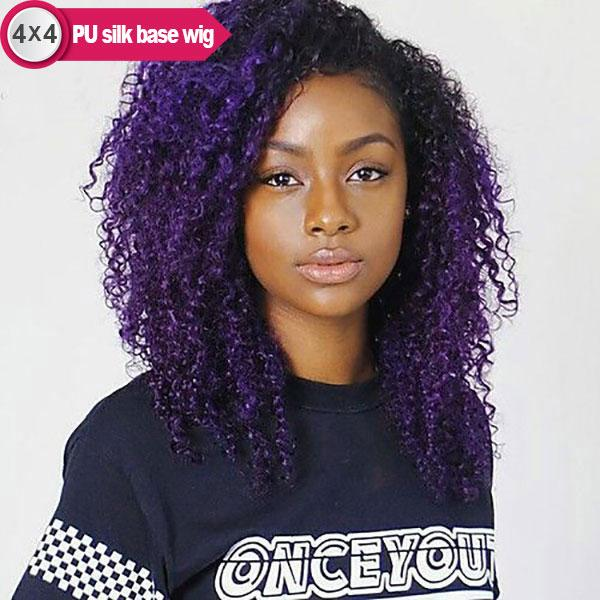 4x4 PU Silk Base Bright Purple Ombre Remy Human Hair Wigs Pre-plucked 1B/Bright Purple, Curly