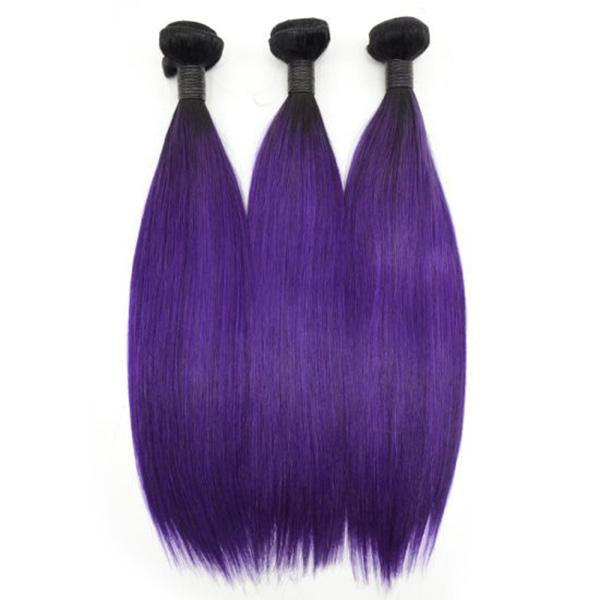 Straight 1B/Purple hair Extension Remy Human Hair Bundles /3 Pieces