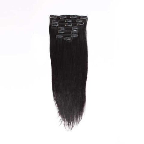 Silk Straight Natural Black Clip in Hair Extensions