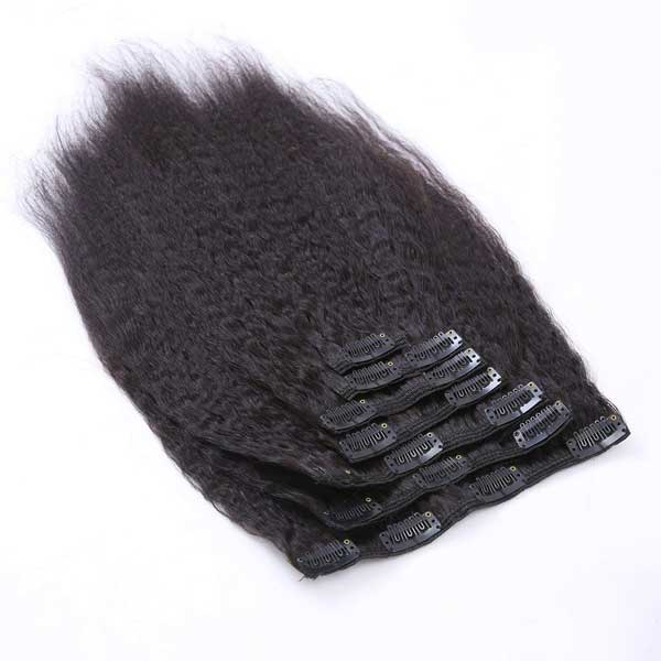 Kinky Straight Natural Black Clip in Hair Extensions