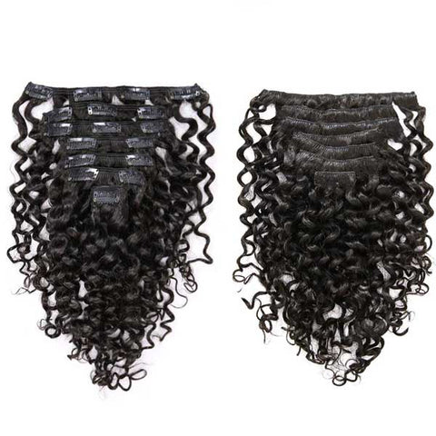 Deep Wave Natural Black Clip in Hair Extensions