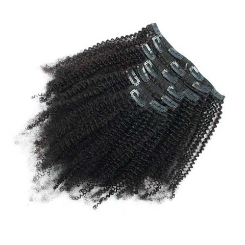 Afro Kinky Curly Natural Black Clip in Hair Extensions