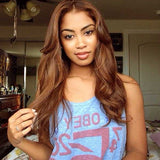 Chestnut Brown Color Body Wave Pre Plucked Lace Wigs