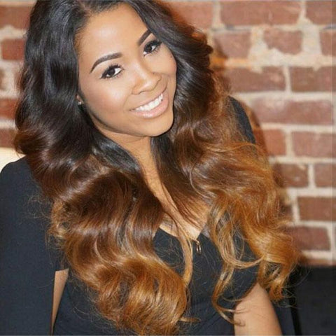 4x4 Lace Frontal Brown and Blonde Ombre Long Remy Human Hair Wigs with Pre-plucked Hairline 1B/4/30, Body Wave