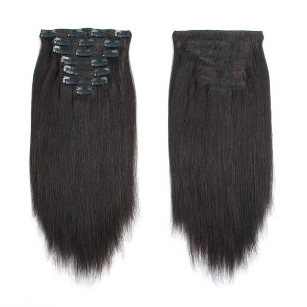 Yaki Straight Natural Black Clip in Hair Extensions