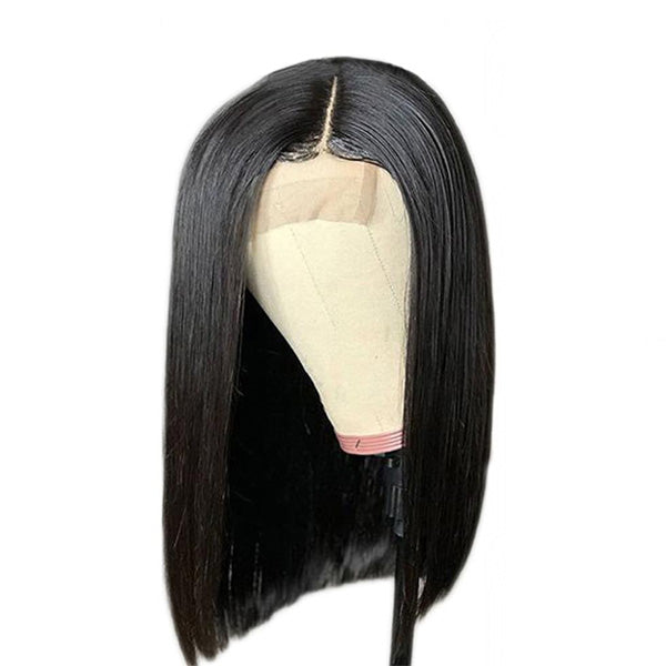 150% Density 4X4 Lace Front Wigs Straight Bob Natural Black Brazilian Human Hair Wigs Pre-Plucked
