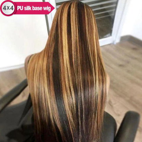 4x4 PU Silk Base 4/27 Honey Blonde Highlight Pre-plucked Remy Human Hair Wigs, Straight