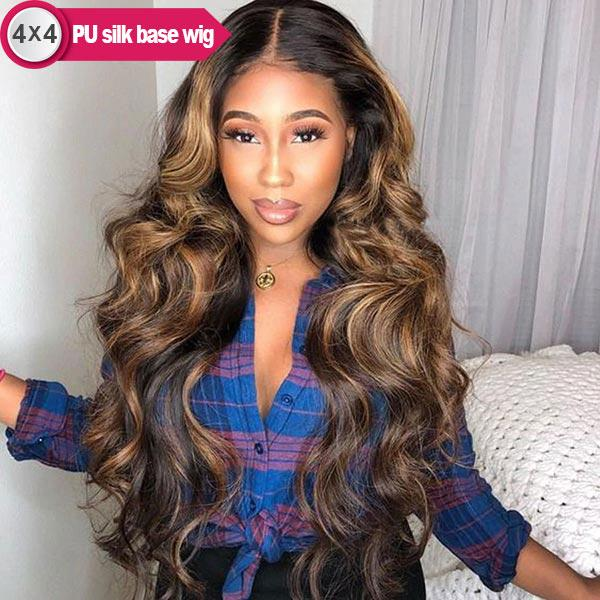 4x4 PU Silk Base Highlight Honey Blonde 2/27 Body Wave Pre-plucked Remy Human Hair Wigs