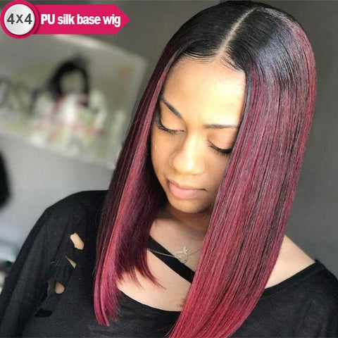 4x4 PU Silk Base Wigs Straight Bob 1B/Burgundy, 99J Brazilian Human Hair Wigs Pre-Plucked