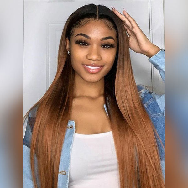 Lace Frontal Brown and Blonde Ombre Long Remy Human Hair Wigs with Pre-plucked Hairline 1B/4/30, Straight