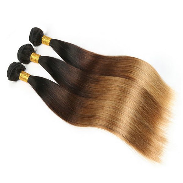 Straight 1B/4/27 hair Extension Remy Human Hair Bundles /3 Pieces