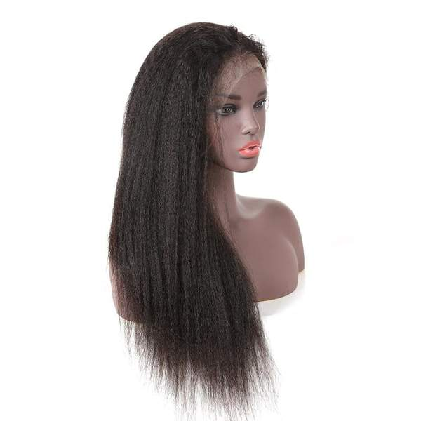 Brazilian Hair Pre Plucked Glueless Full Lace Kinky Straight Wigs for black women