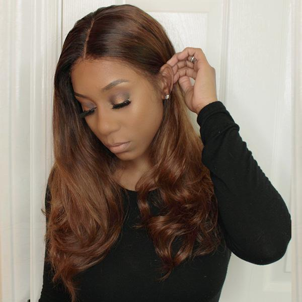 Chestnut Brown Color Pre Plucked Lace Wigs for black women