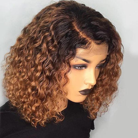 Curly Lace Front Blonde Ombre Remy Human Hair Bob Wigs Pre-plucked 1B/30