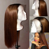 360x6 Lace Frontal Fake Scalp #2-Color Pre Plucked Remy Human Hair Wigs