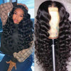 Natural Black Full Lace Loose Wave Remy Human Hair Wigs Pre-plucked