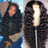 Human Hair Loose Wave Pre Plucked Glueless Full Lace Wigs for black women