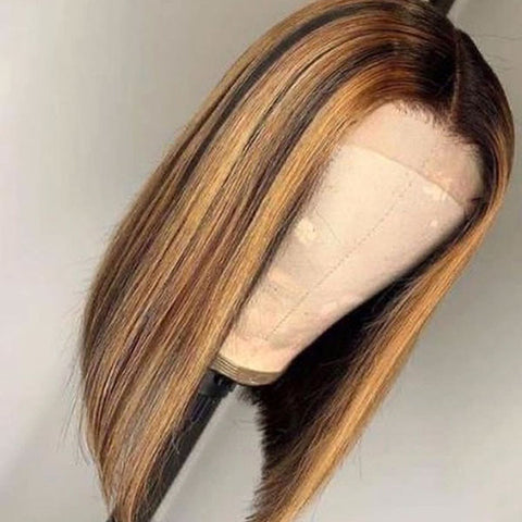 Straight Lace Frontal 4/27 Honey Blonde Highlight Bob Remy Human Hair Wigs With Pre-plucked Hair-line